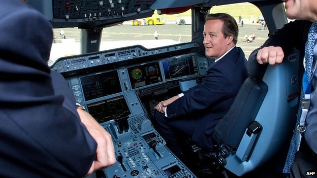 David Cameron in cockpit at Farnborough Air Show