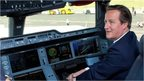 David Cameron at controls of new Airbus A350