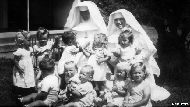 Daughter of Mari Steed and other babies with nuns at Bessborough House (image courtesy of Mari Steed)