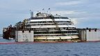 Wreck of Costa Concordia with flotation tanks (14 July)