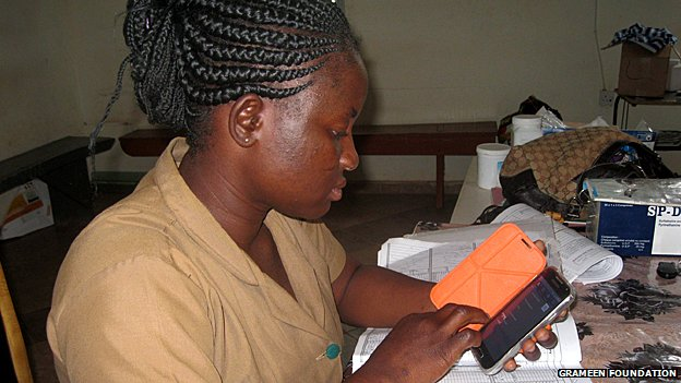 A community health worker uses the new Android-based MOTECH app