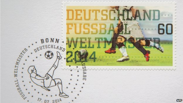German stamp marking victory in 2014 football World Cup. 14 July 2014