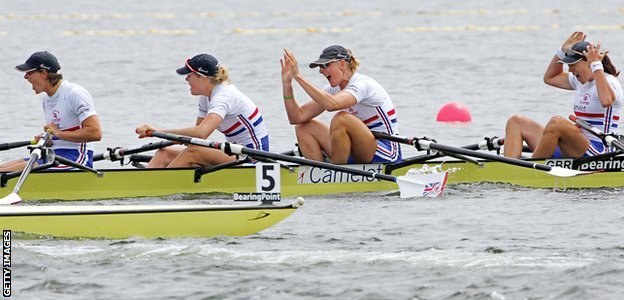 Sarah Winckless and Katherine Grainger, along with Frances Houghton and Rebecca Romero, win the quadruple sculls at the world championships in Japan in 2005