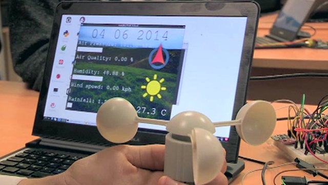 Raspberry Pi, wind sensor and results on laptop