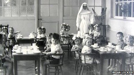 Nun and school children at the Sean Ross Abbey, one of the institutions likely to be included in the Irish inquiry (file photo from the 1950s courtesy of Brian Lockier)