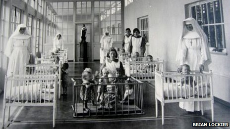 Nuns and children in a dormitory at Sean Ross Abbey (photo from the 1950s courtesy of Brian Lockier)