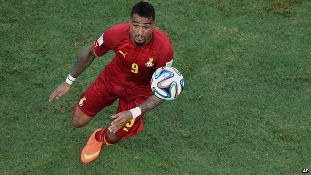 Ghana's Kevin-Prince Boateng looks up as he eyes the ball during the group G World Cup soccer match between Germany and Ghana at the Arena Castelao in Fortaleza, Brazil, on 21 June  2014