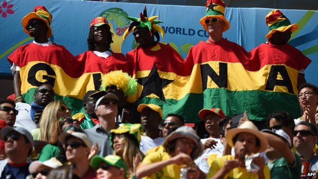 Ghana's fans cheer prior to the Group G football match between Portugal and Ghana at the Mane Garrincha National Stadium in Brasilia during the 2014 FIFA World Cup on 26 June  2014