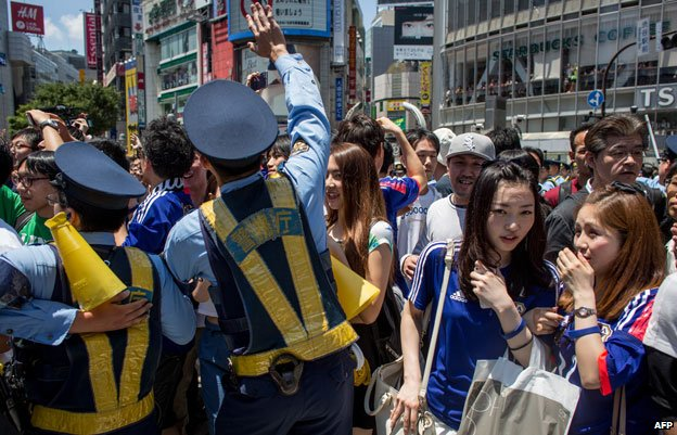 Police at Shibuya after a football match