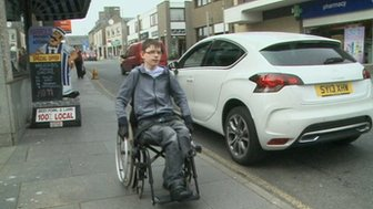 Kieran in wheelchair