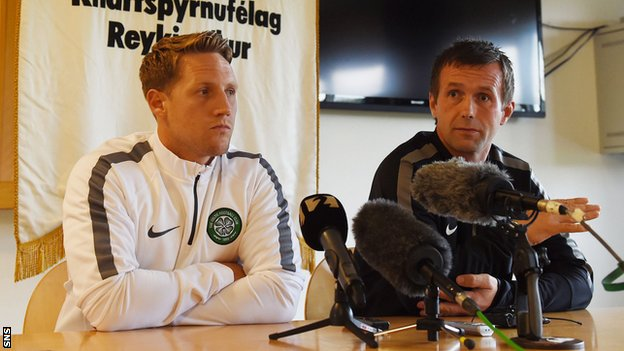 Celtic midfielder Kris Commons and manager Ronny Deila
