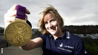Katherine Grainger with the Olympic gold medal she won at London 2012