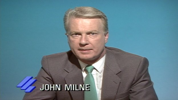 John Milne presenting Reporting Scotland in 1988