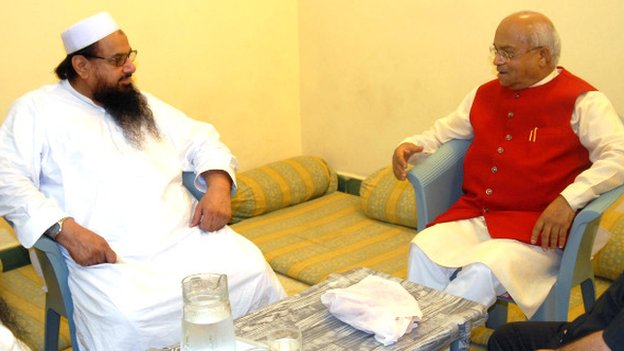 Mr Vaidik (right) has uploaded a picture of his meeting with Mr Saeed on Twitter