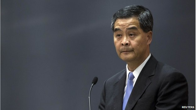 Hong Kong's Chief Executive Leung Chun-ying speaks during a news conference in Hong Kong on 15 July 2014.