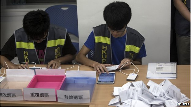 Electoral assistants count ballots at a polling station after the last day of civil referendum held by the Occupy Central organisers in Hong Kong on 29 June 2014