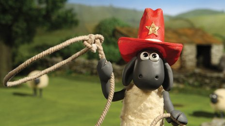 Shaun the Sheep with lasso and sheriff's hat