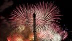 Bastille Day fireworks around the Eiffel Tower, Paris