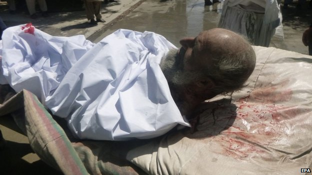 A blast victim in Orgun. Photo: 15 July 2014