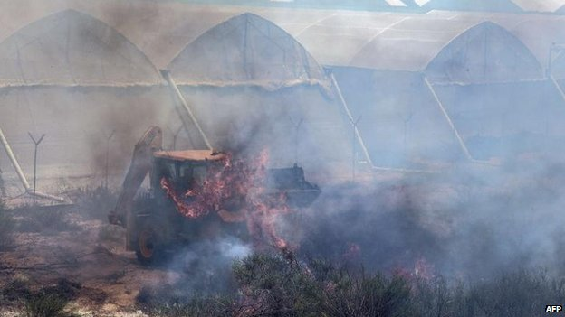 An Israeli farmer in Ashkelon attempts to put out a fire caused by a rocket attack, 15 July