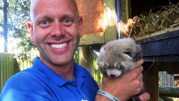 Mark Kenward with one of the red panda cubs