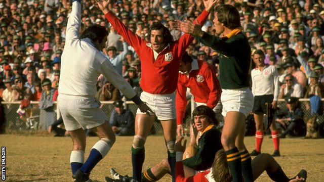 Gareth Edwards celebrates a try for the 1974 British & Irish Lions against South Africa