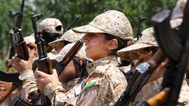 Female Kurdish Peshmerga fighters in Sulaimaniya (July 2014)