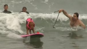 A dog is stood on a surfboard, surfing a wave, wearing a pink lifejacket.