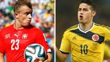 Xherdan Shaqiri (L) and James Rodriguez