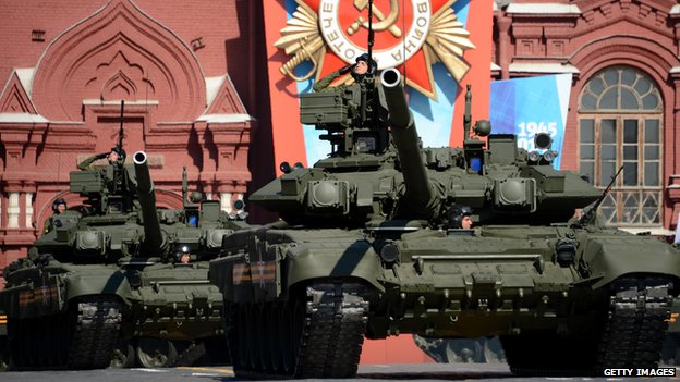 Russian T-90 tanks in Red Square in Moscow, on May 9, 2014, during a Victory Day parade