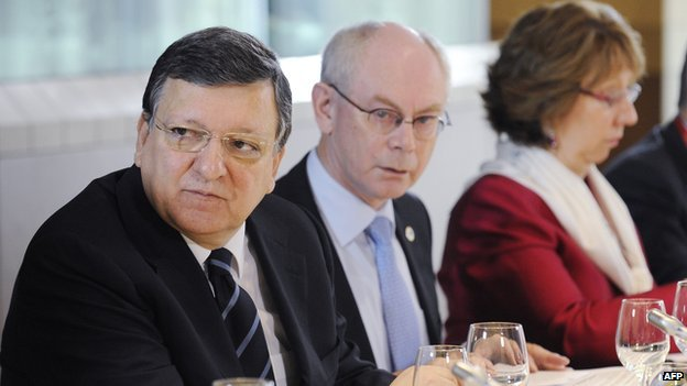 EU leaders (file pic) - Commission president Barroso (left), Herman Van Rompuy (centre), Baroness Ashton (right)