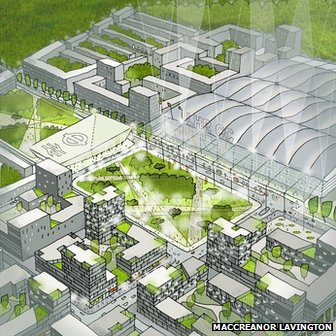 Artists impression of a design by Maccreanor Lavington of Heathrow City