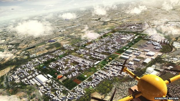 Artists impression of a design by Hawkins Brown of Heathrow City