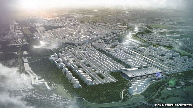 Artists impression of a design by Rick Mather Architects of Heathrow City