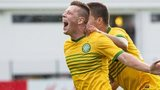 Callum McGregor celebrates after netting the winning goal against KR Reykjavik