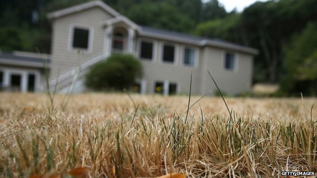 A dried lawn stands in front of a house in Lagunitas, California (15 July 2014)