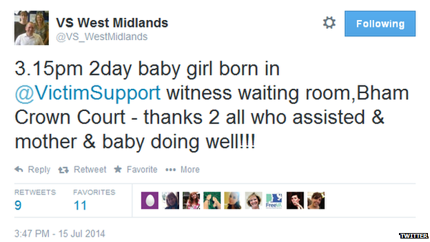 The tweet from Victim Support West Midlands