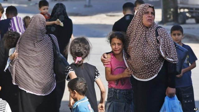Women and children in Gaza City