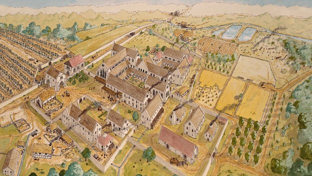 Artist's impression of the area surrounding Rufford Abbey