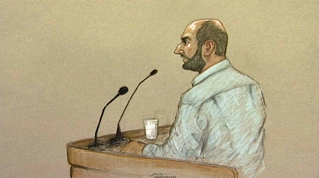 Babar Ahmad giving evidence in court, 2011