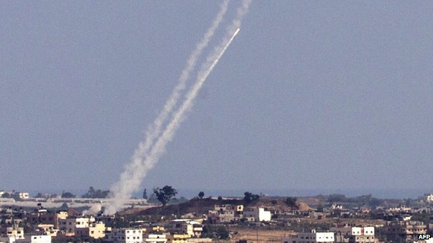Rockets being launched into Israel (16 July 2014)