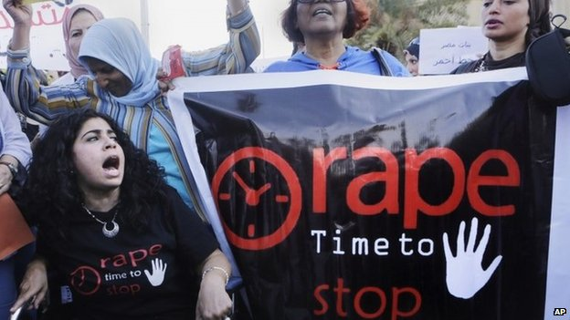 Egyptian women protest against sexual assault and harassment in Cairo (14 June 2014)