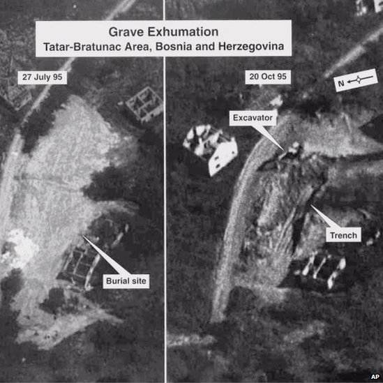 Aerial photo of mass graves around Srebrenica shown as evidence during the trial of Bosnian Serb Army Gen Radislav Krstic on 25 May 2000 at the Yugoslav War Cimes tribunal in The Hague.