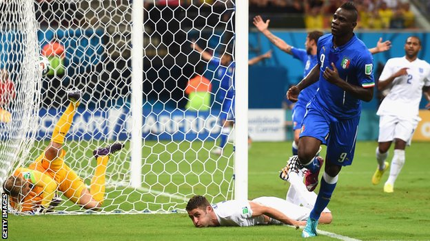 Mario Balotelli scores for Italy against England