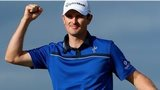 Justin Rose celebrates winning the Scottish Open