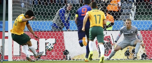Mile Jedinak scores for Australia against the Netherlands