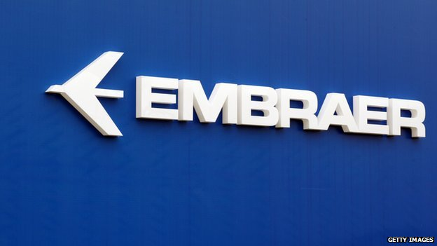 The logo of Brazil's aircraft manufacturer Embraer