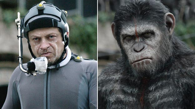 Andy Serkis in the flesh and as Caesar in Dawn of the Planet of the Apes