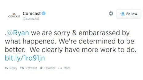 A tweet from Comcast.