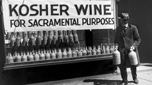 An archive photo of a store selling Kosher wine for sacramental purposes
